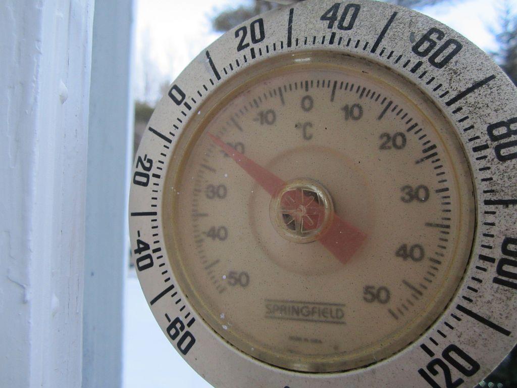 Hovering slightly below 0 (Fahrenheit)