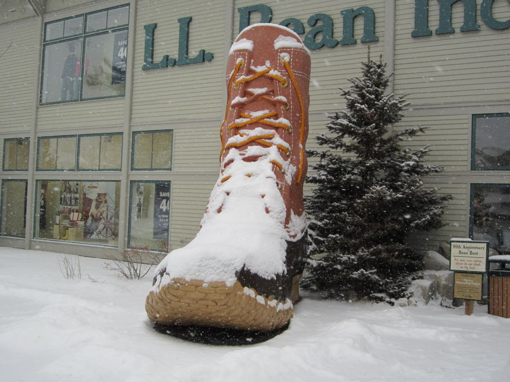 The LL Bean boot doesn't mind the snow.