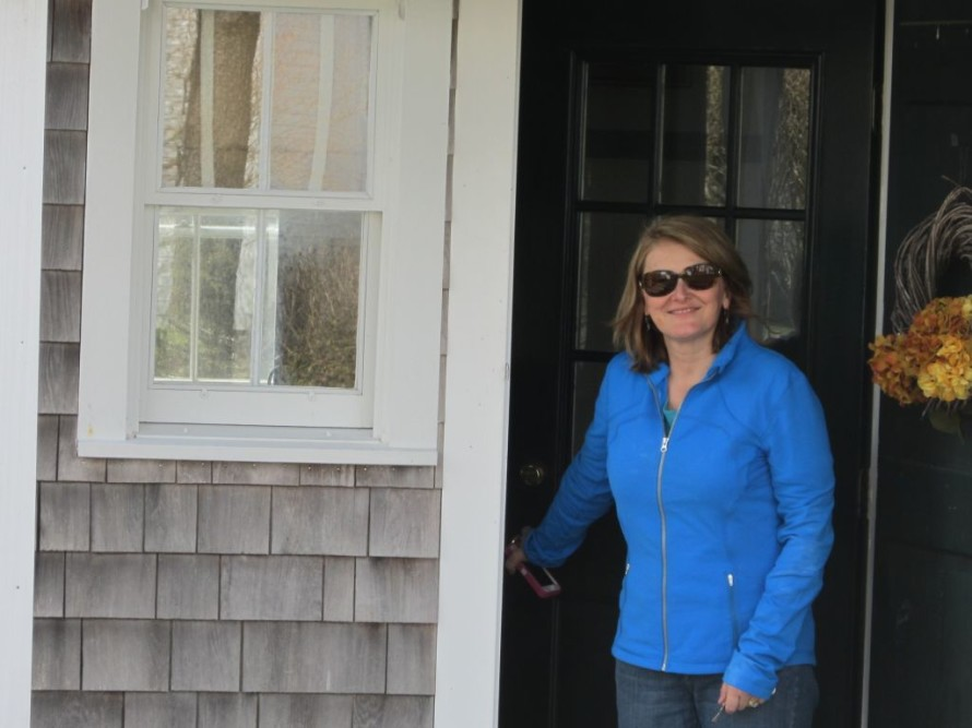 Mary leaving our cottage at Fort Hill on Friday.