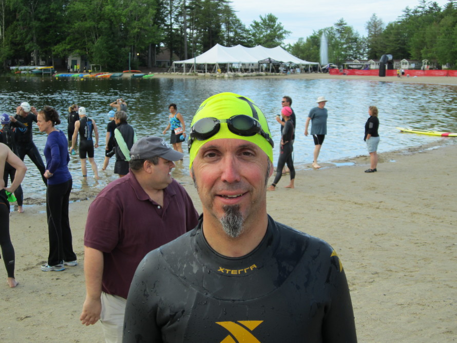 Getting ready for my big swim.
