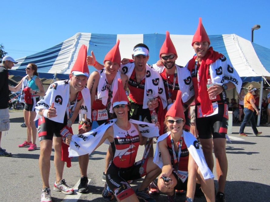 Les Chickens, from Montreal; one of many high-end teams/clubs of tri-athletes competing.