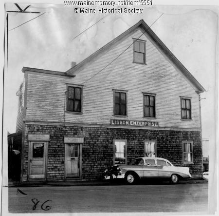 Office of The Lisbon Enterprise. Stephen King worked for the newspaper while in high school; his editor was John Gould. (Maine Memory Network)
