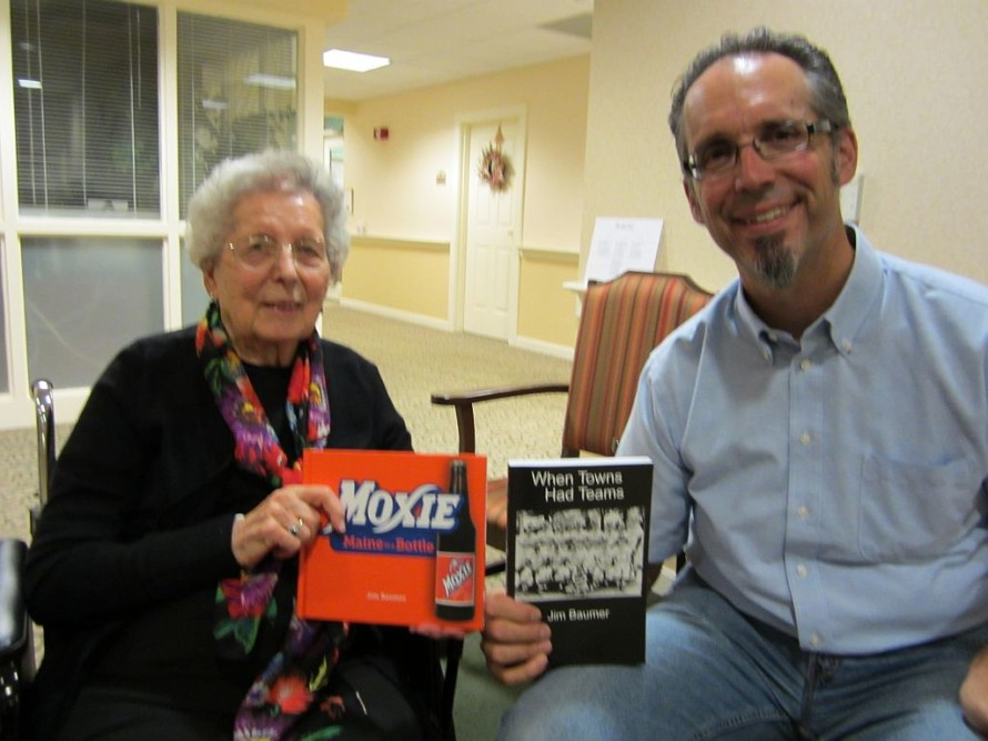 My newest fan, Shirley, holding up a signed copy of my Moxie book.