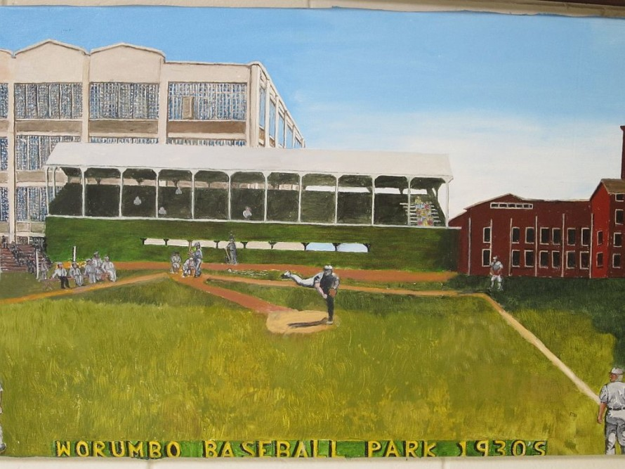 Another great local landmark, painted by Frank Gross--Worumbo Park, circa 1930s.