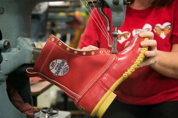 Special, red, Red Sox Bean boots, made in Brunswick, Maine.