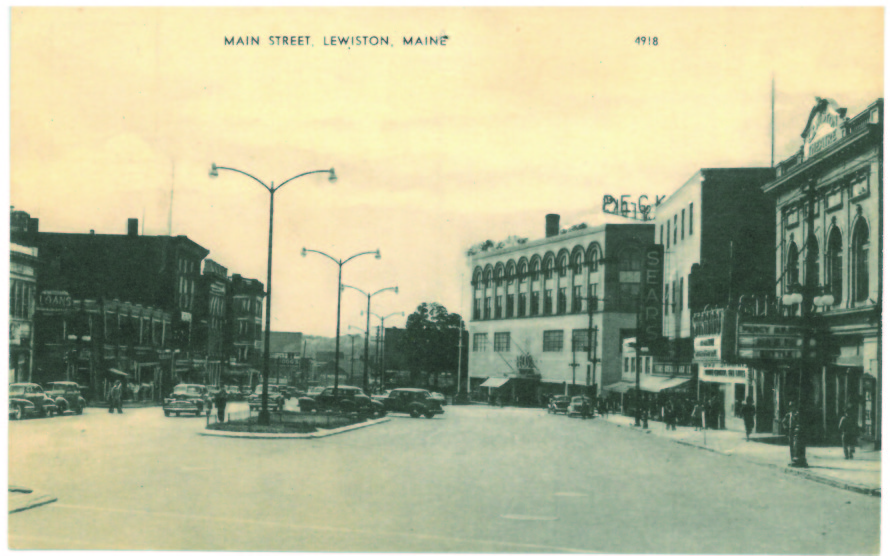 Postcard of Main Street in Lewiston, circa 1940s.