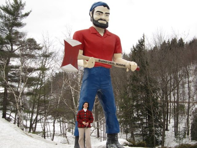 Lady Alone Traveler and one of Maine's two Muffler Men-Paul Bunyan's brother, Pierre.