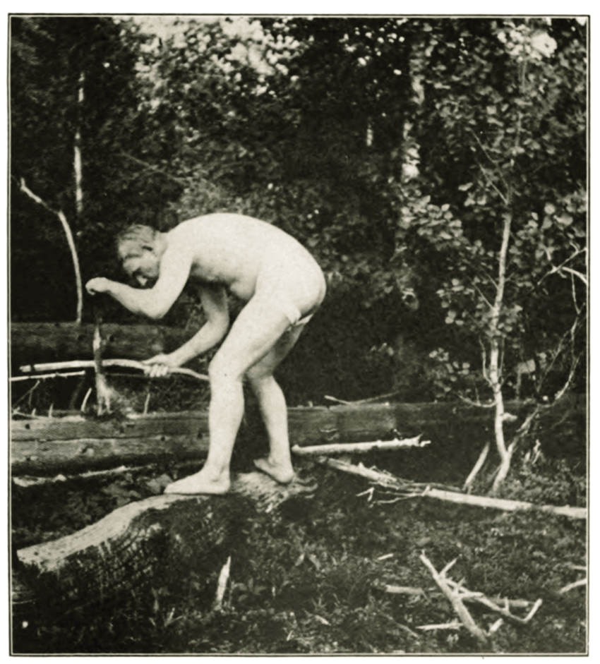 Joe Knowles-naked man in the woods. (Boston magazine)
