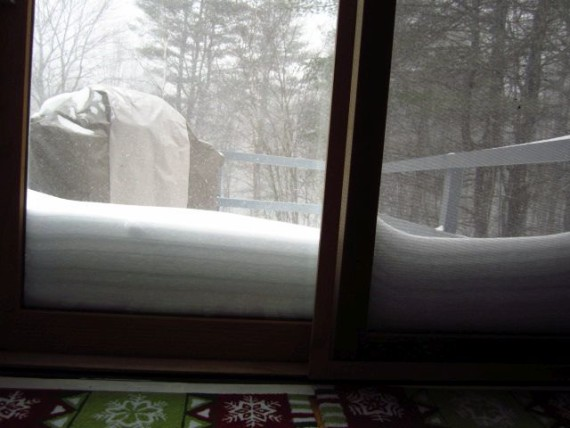 Snow piling up against our deck door.