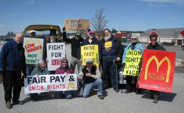 Rallying for wage increases, Ellsworth, Maine.