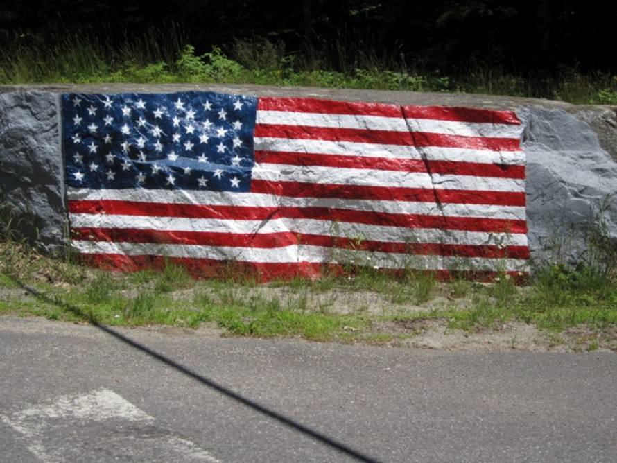 Painted-on flag; Georgetown, Maine.