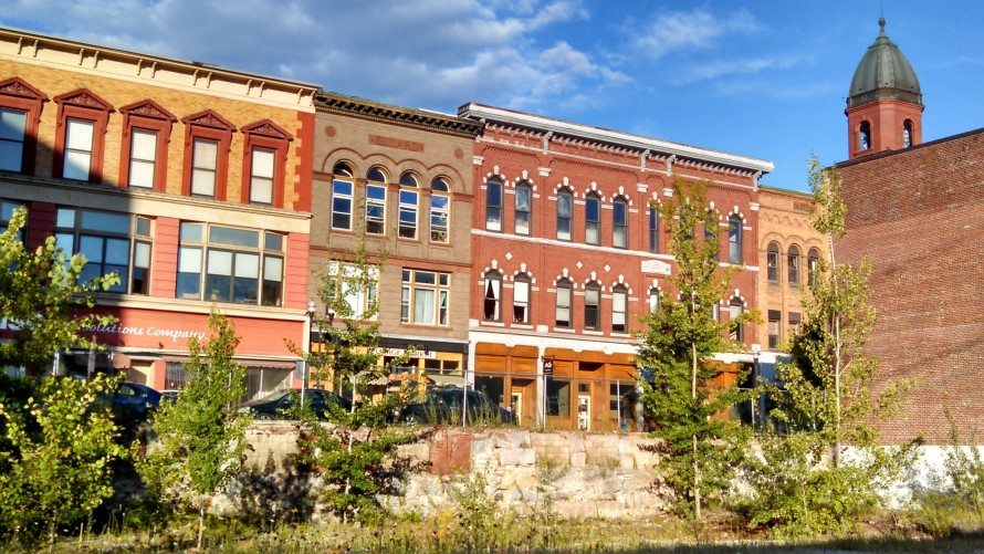 Downtown Lewiston, Maine, as dusk approaches.