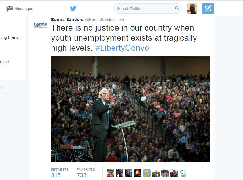 Bernie on Twitter, at Liberty, on jobs.