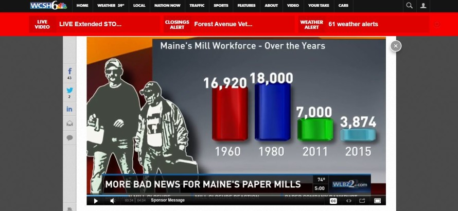 The demise of papermaking in Maine; 1960-2015. (WCSH-6)