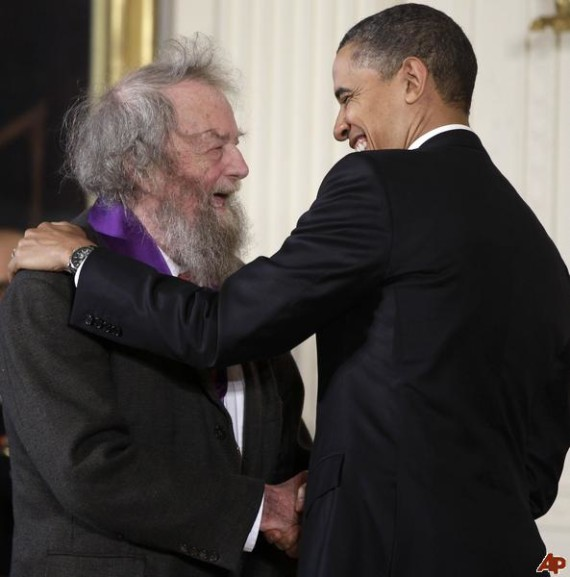 Poets and presidents; Donald Hall being honored by President Obama (AP Photo).
