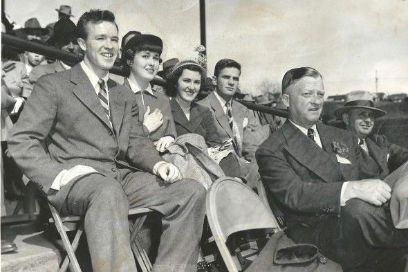 Fans at a Seattle Rainiers baseball game at Sicks Stadium (circa 1950).