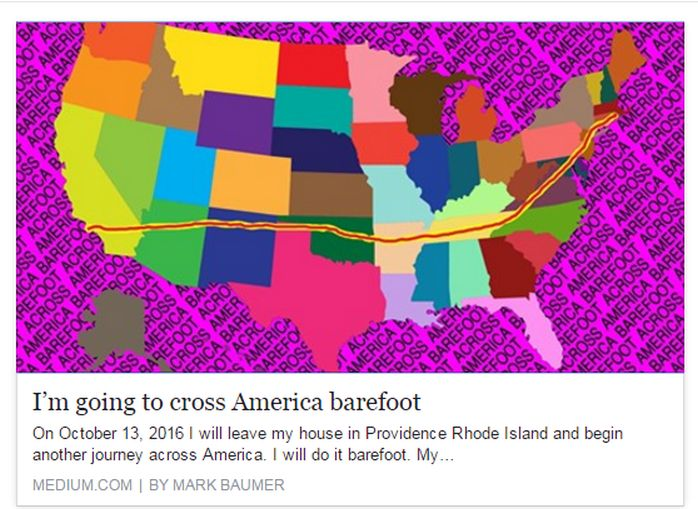 Mark Baumer will cross America on foot, once again.