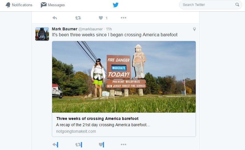 Mark Baumer, 21 days on his bare feet.